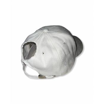 White suede ponytail cap